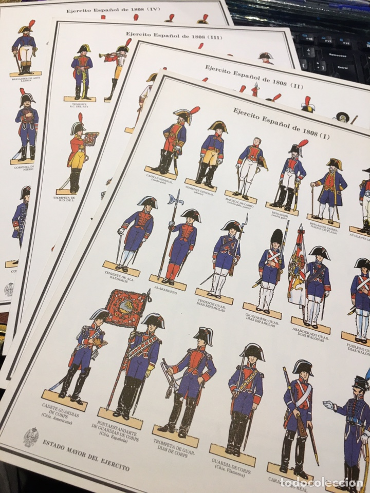RECORTABLES 1-2-3 Y 4 EJERCITO ESPAÑOL 1808 GUERRA INDEPENDENCIA (Coleccionismo - Recortables - Soldados)
