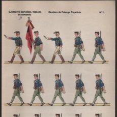 Coleccionismo Recortables: EJERCITO ESPAÑOL 1936-1939,BANDERA FALANGE- EN CAMPAÑA.-Nº 2- DIBUJO: J.L. PICARDO CASTELLON-. Lote 203248132