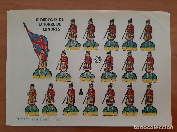 RECORTABLE GUARDIANES DE LA TORRE DE LONDRES (Coleccionismo - Recortables - Soldados)