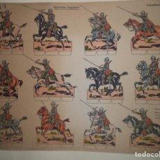 Coleccionismo Recortables: RECORTABLE URIARTE HOJA Nº 2 EJERCITO ESPAÑOL CABALLERIA EN CAMPAÑA UNA CARGA 35X27 CM. Lote 242414740