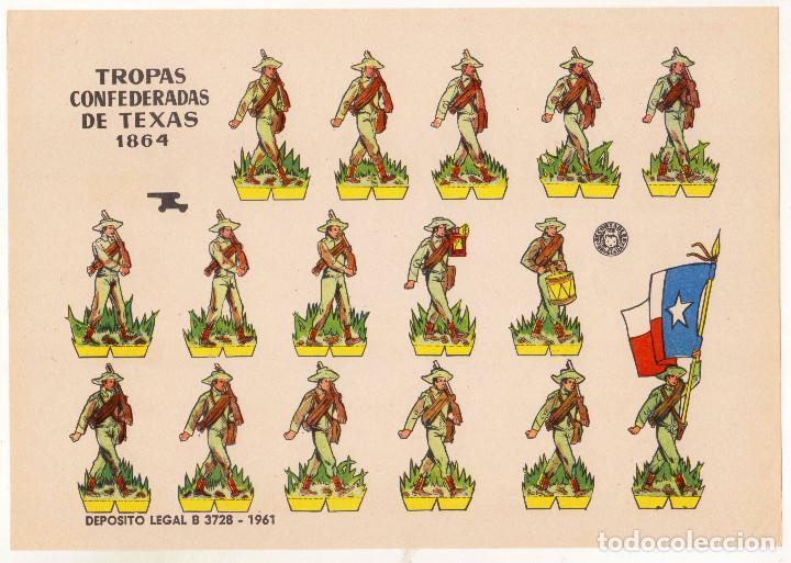 TROPAS CONFEDERADAS DE TEXAS DE 1864 - BRUGUERA - AÑO 1961 - PERFECTO ESTADO (Coleccionismo - Recortables - Soldados)