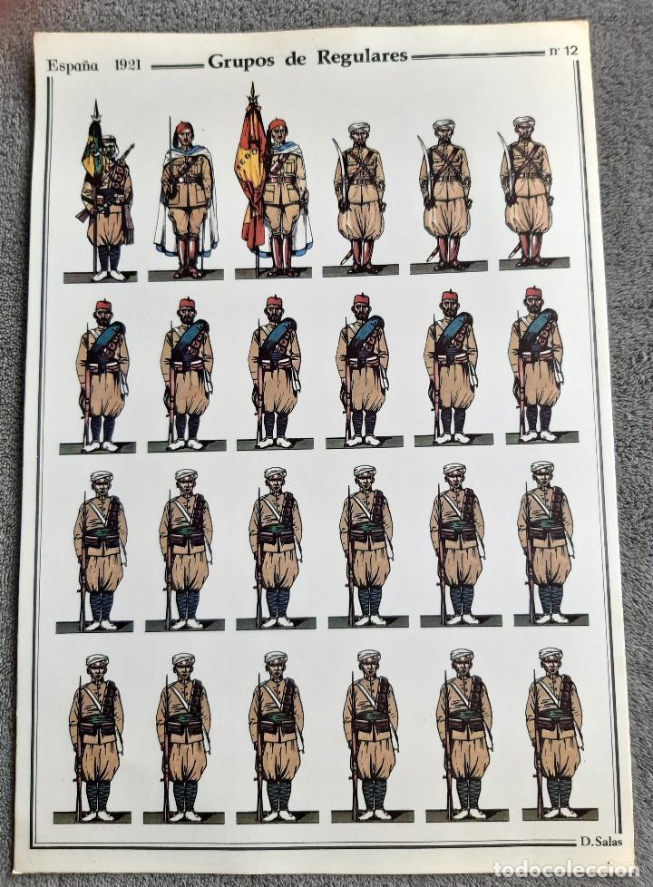 GRUPOS DE REGULARES - ESPAÑA 1921 - Nº 12 - D. SALAS - PERFECTO ESTADO (Coleccionismo - Recortables - Soldados)
