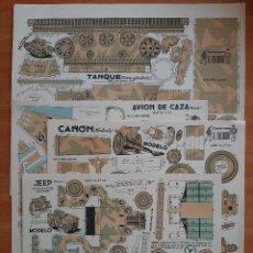 Coleccionismo Recortables: LOTE CUATRO RECORTABLES EL SOLDADO : CAÑÓN, JEEP, TANQUE,AVIÓN DE CAZA. Lote 247921395