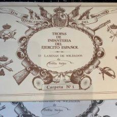 Coleccionismo Recortables: CARPETAS (2) COMPLETAS 39 LÁMINAS TROPAS DE INFANTERÍA DEL EJÉRCITO ESPAÑOL DE DELFIN SALAS. Lote 252423770