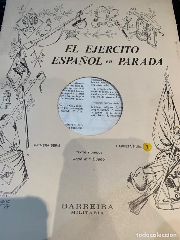 CARPETAS (5) COMPLETAS PRIMERA SERIE EL EJÉRCITO EN PARADA N. 1,2,3,4 Y 5 - 40 LÁMINAS VER FOTOS (Coleccionismo - Recortables - Soldados)