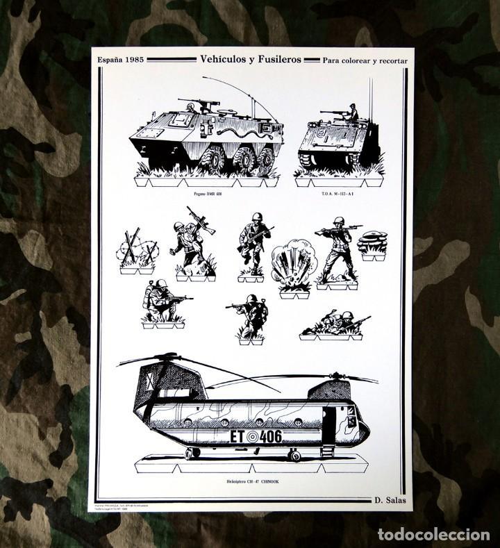 RECORTABLE - SOLDADOS: VEHÍCULOS Y FUSILEROS- CUARTEL GENERAL DEL EJERCITO - D. SALAS - NUEVO (Coleccionismo - Recortables - Soldados)