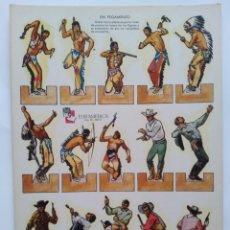 Coleccionismo Recortables: ANTIGUO RECORTABLES ZAS SERIE A NUM. 1 EUROAMERICANA INDIOS VAQUEROS EN CARTON RV. Lote 293913028