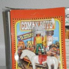 Coman Boys: FIGURA CON CABALLO EN SU BLISTER COMAN BOYS ( COMANSI ) AÑOS 70 . INDIO. Lote 219099776