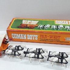 Coman Boys: CARRETA TIRADA POR SEIS CABALLOS DE COMAN BOYS - REF 624 . CAJA ORIGINAL . ORIGINAL AÑOS 70 / 80. Lote 182206553