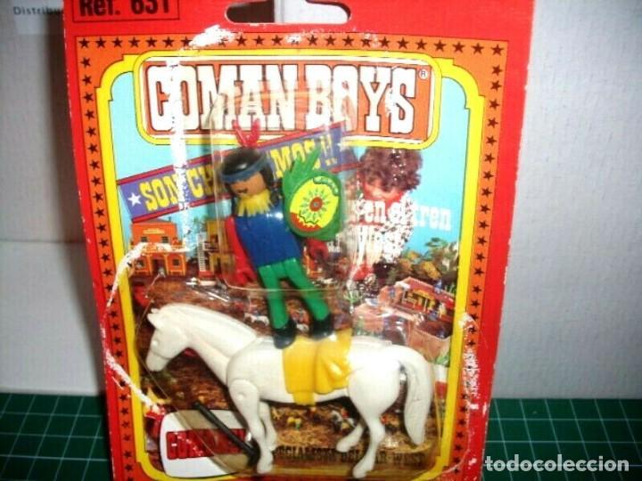 COMAN BOYS INDIO CON CABALLO Y HACHA ( 1970 ). (Juguetes - Figuras de Acción - Coman Boys)