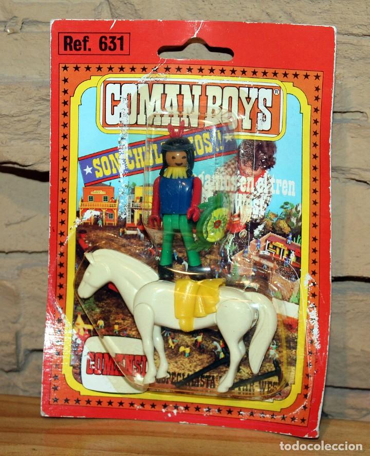 COMAN BOYS - BLISTER FIGURA INDIO Y CABALLO - NUEVO, SIN USO - OESTE (Juguetes - Figuras de Acción - Coman Boys)