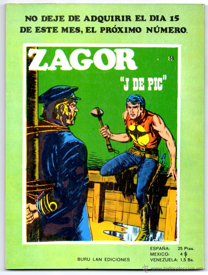 Cómics: ZAGOR nº 55 Contraportada - Foto 3 - 42275292