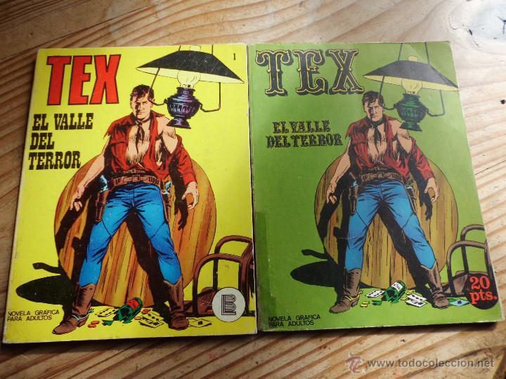 TEX Nº 1 VERSIONES EN AMARILLO Y VERDE EL VALLE DEL TERROR BURULAN (Tebeos y Comics - Buru-Lan - Tex)