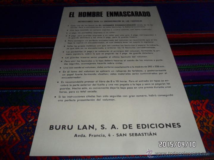 BURU LAN INSTRUCCIONES PARA ENCUADERNAR TOMOS DEL HOMBRE ENMASCARADO. RARO. BUEN ESTADO. (Tebeos y Comics - Buru-Lan - Otros)