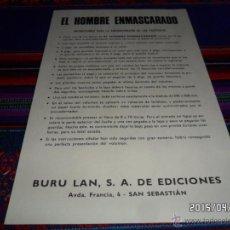 Cómics: BURU LAN INSTRUCCIONES PARA ENCUADERNAR TOMOS DEL HOMBRE ENMASCARADO. RARO. BUEN ESTADO.. Lote 48955799