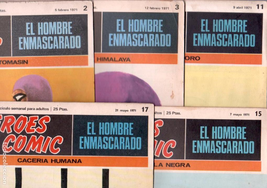 EL HOMBRE ENMASCARADO BURULAN 1971 - LOTE 5 NºS - 2,3,11,15,17 (Tebeos y Comics - Buru-Lan - Hombre Enmascarado)