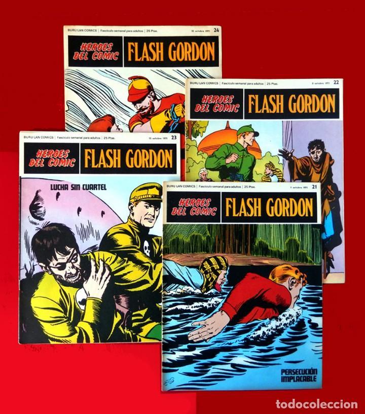 FLASH GORDON, LOTE DE 4 FASCÍCULOS; Nº 21- 22- 23- 24 - PERTENECIENTES AL TOMO 2 - 1971 - BURU LAN (Tebeos y Comics - Buru-Lan - Flash Gordon)
