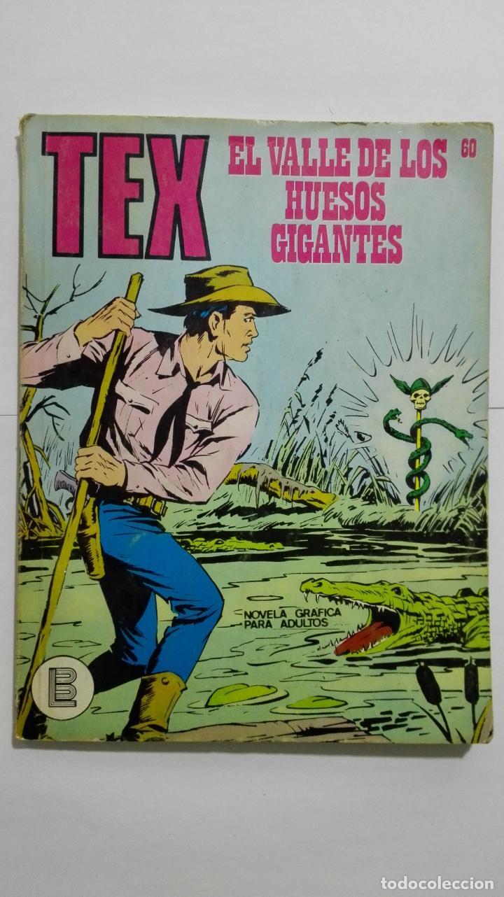TEX Nº 60, EL VALLE DE LOS HUESOS GIGANTES, EDICIONES BURU-LAN, 1971 (Tebeos y Comics - Buru-Lan - Tex)