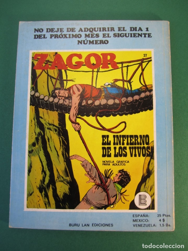 Cómics: ZAGOR (1971, BURU LAN) 26 · 15-VI-1972 · TERRITORIO INDIO - Foto 2 - 175076753