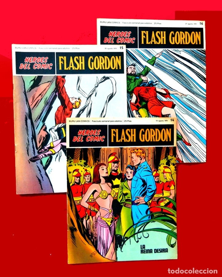 FLASH GORDON, Nº 14 - 15 - 16 - 3 FASCICULOS DEL TOMO 2, 1971 - BURU-LAN COMICS,- COMO NUEVOS. (Tebeos y Comics - Buru-Lan - Flash Gordon)
