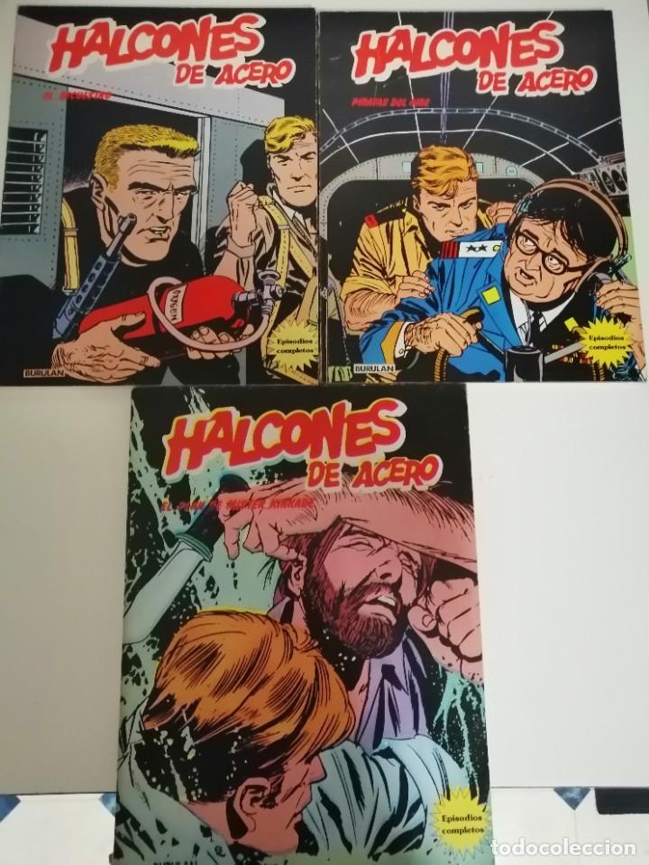 3 CÓMICS HALCONES DE ACERO: PIRATAS DEL AIRE- EL SECUESTRO- EL PLAN DE MISTER KINKADE. BURULAN 1974 (Tebeos y Comics - Buru-Lan - Halcones de Acero)