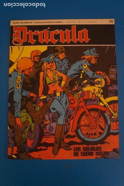 COMIC DE DRÁCULA LOS SALVAJES DEL CUERO NEGRO AÑO 1970 Nº 26 DE EDICIONES BURU LAN LOTE 27 F (Tebeos y Comics - Buru-Lan - Drácula)