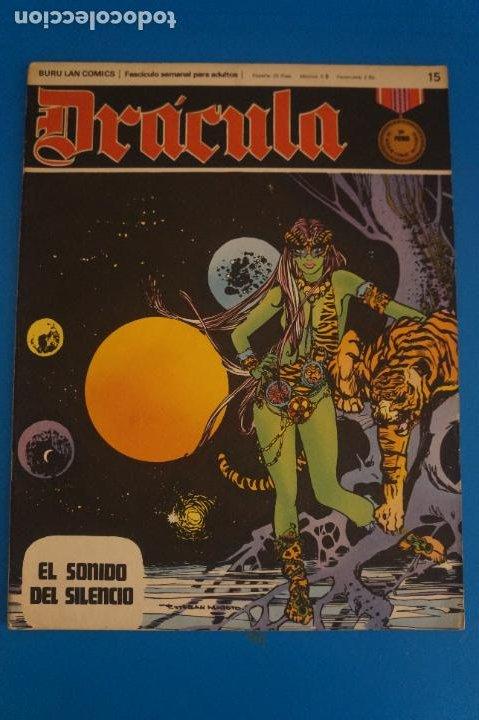 COMIC DE DRÁCULA EL SONIDO DEL SILENCIO AÑO 1970 Nº 15 DE EDICIONES BURU LAN LOTE 27 F (Tebeos y Comics - Buru-Lan - Drácula)