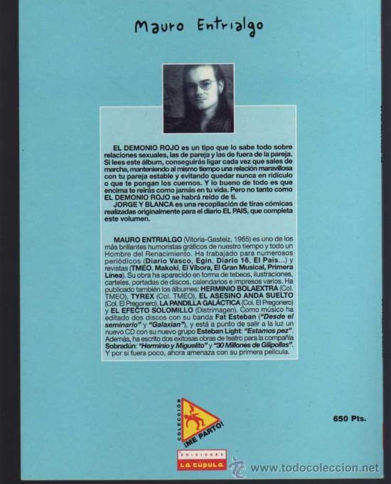 Cómics: EL DEMONIO ROJO - MAURO ENTRIALGO - COL. ME PARTO Nº 1 - EDICIONES LA CÚPULA - Foto 2 - 26916338