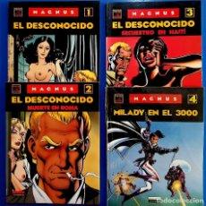 Cómics: EL DESCONOCIDO (1-2-3) Y MILADY EN EL 3000, DE MAGNUS. TOMOS 1 AL 4. COMPLETA (LA CÚPULA, 1990-1991). Lote 119035255