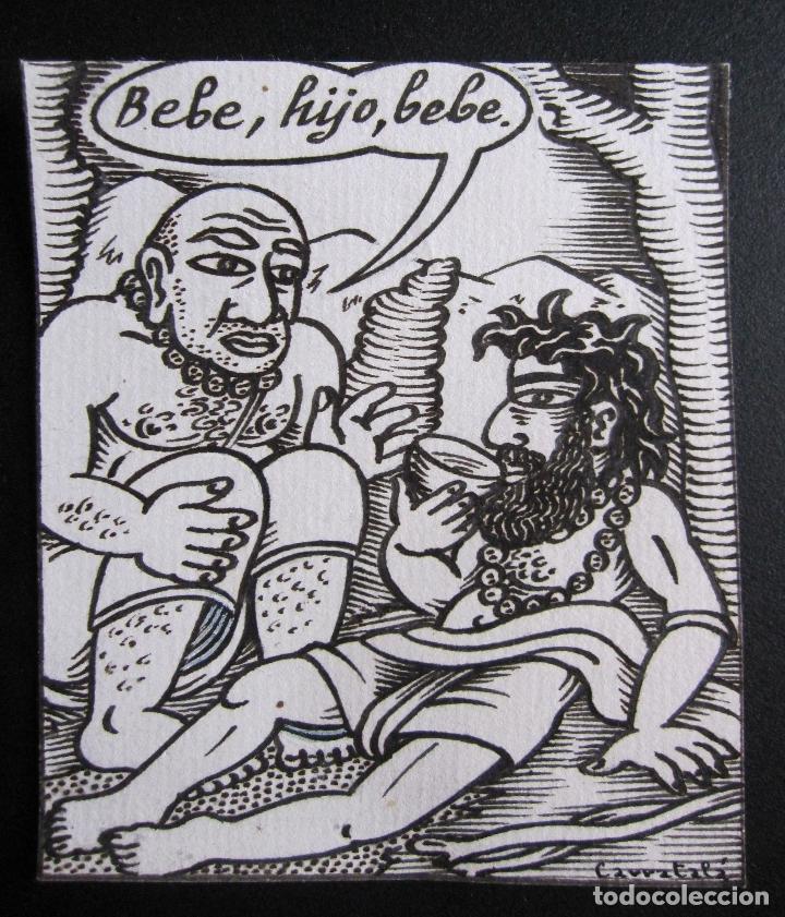 ERNESTO CARRATALÁ. DIBUJANTE VIBORA. ORIGINAL A TINTA. 9,5 X 9 CM (Tebeos y Comics - La Cúpula - El Víbora)
