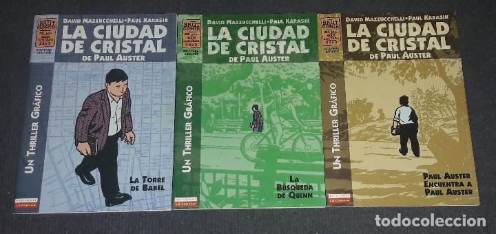 LA CIUDAD DE CRISTAL COMPLETA 3 COMICS BRUT COMIX PAUL AUSTER DAVID MAZZUCCHELLI PAUL KARASIK (Tebeos y Comics - La Cúpula - Comic Europeo)