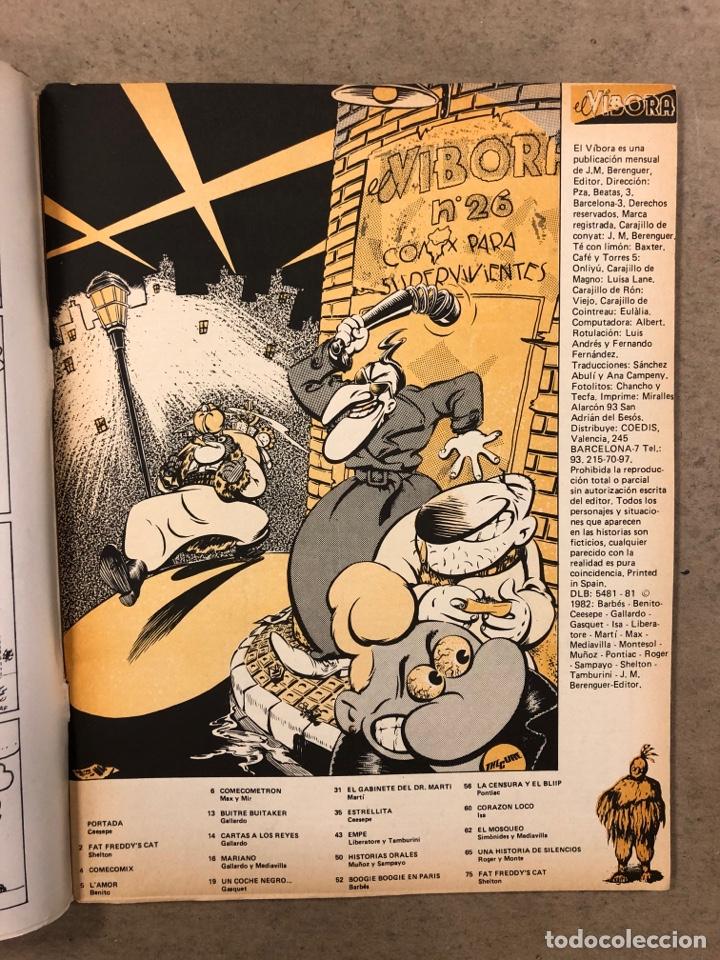 Cómics: EL VÍBORA COMIX N° 26 (EDICIONES LA CÚPULA 1981). CEESEPE, GALLARDO, MARTÍ, LIBERATORE Y TAMBURINI - Foto 2 - 261586005