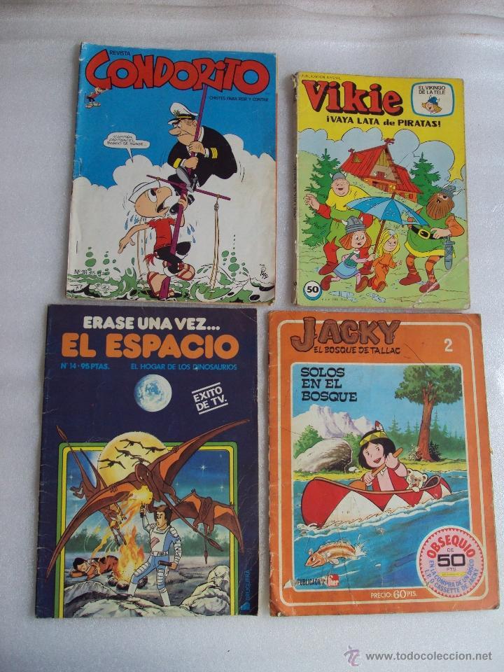 CUATRO TEBEOS DE LOS AÑOS 70 Y 80, VIKIE EL VIKINGO, CONDORITO, ERASE UNA VEZ...EL ESPACIO, JACKY (Tebeos y Comics - Ediciones B - Clásicos Españoles)