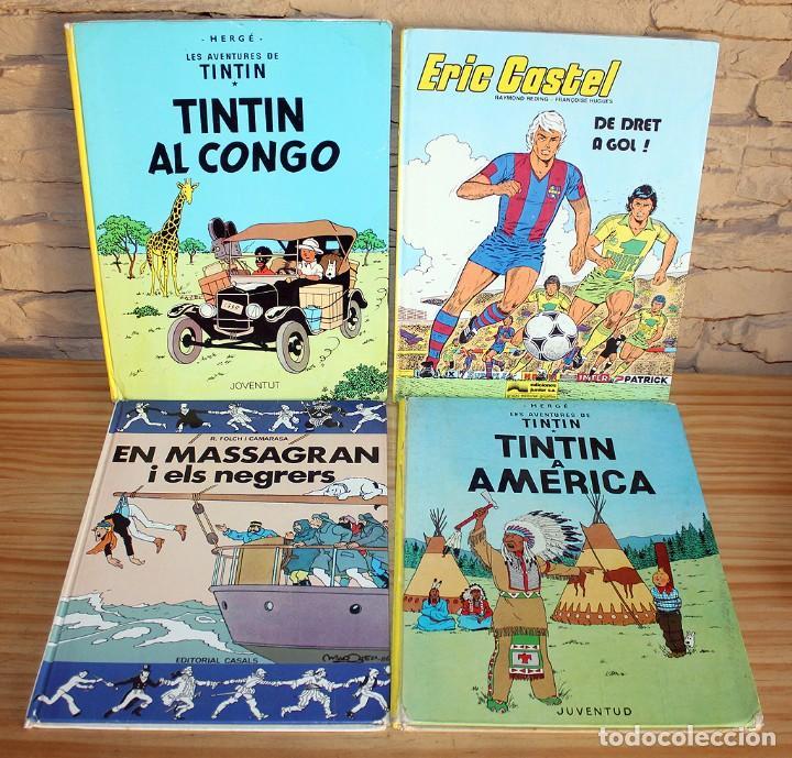 LOTE DE 4 COMICS: TINTIN, ERIC CASTEL Y MASSAGRAN - TAPA DURA (Tebeos y Comics - Ediciones B - Humor)