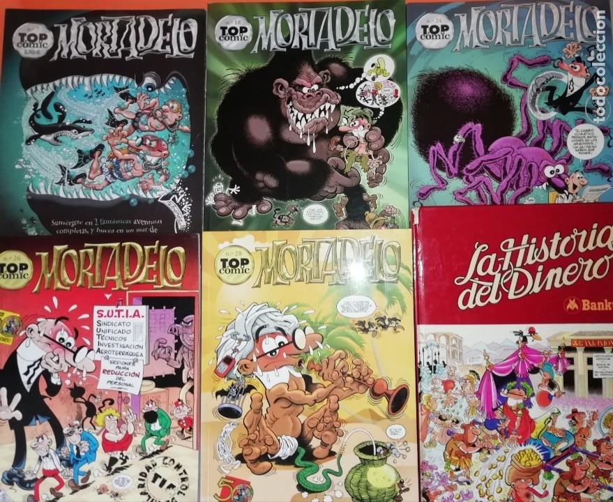 MORTADELO. TOP COMIC. NUMEROS 7,18,24,26 Y 28. LA HISTORIA DEL DINERO, BANKUNION. (Tebeos y Comics - Ediciones B - Humor)