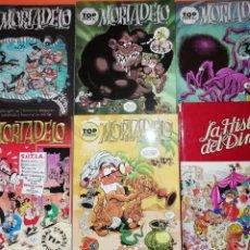 Cómics: MORTADELO. TOP COMIC. NUMEROS 7,18,24,26 Y 28. LA HISTORIA DEL DINERO, BANKUNION.. Lote 217194716