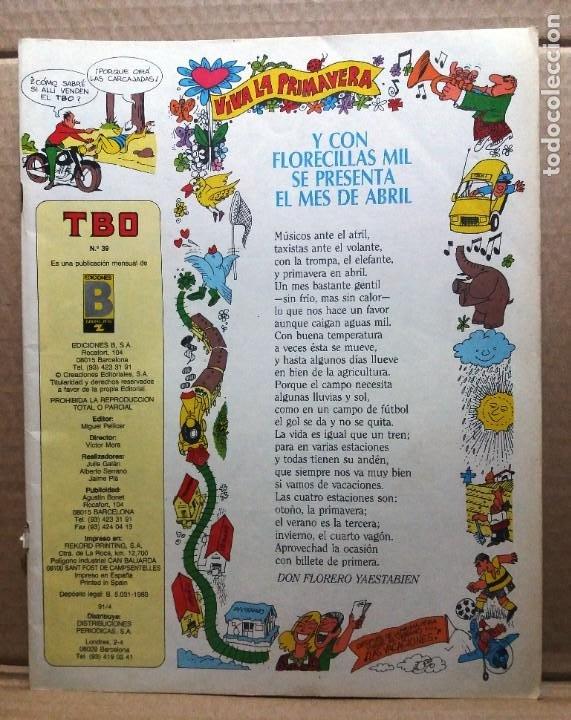 TBO Nº 39 (Tebeos y Comics - Ediciones B - Humor)