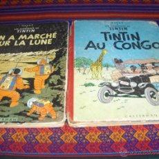 Cómics: TINTIN AU CONGO 1947 ON A MARCHÉ SUR LA LUNE 1954 CASTERMAN 1ª PRIMERAS EDS ATERRIZAJE LUNA FRANCÉS. Lote 44852725
