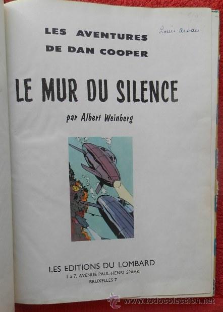 Cómics: LES AVENTURES DE DAN COOPER. LE MUR DU SILENCE - A. WEINBERG (LOMBARD, 1959) - Foto 3 - 47371494