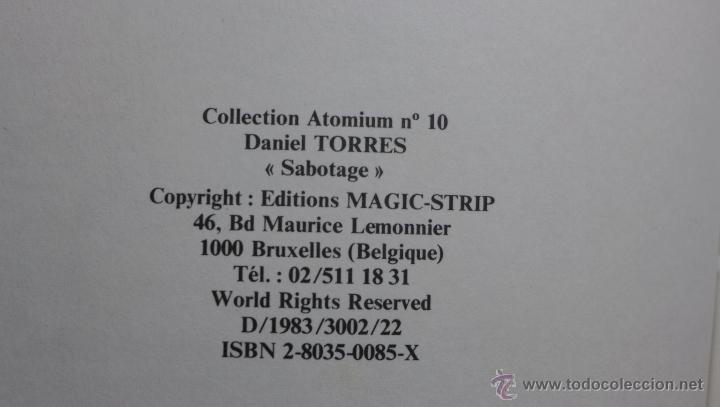Cómics: Daniel Torres. Sabotage. (Sabotaje). Edición belga. 1a edición 1983. Ed. Magic-Strip - Foto 3 - 54518037