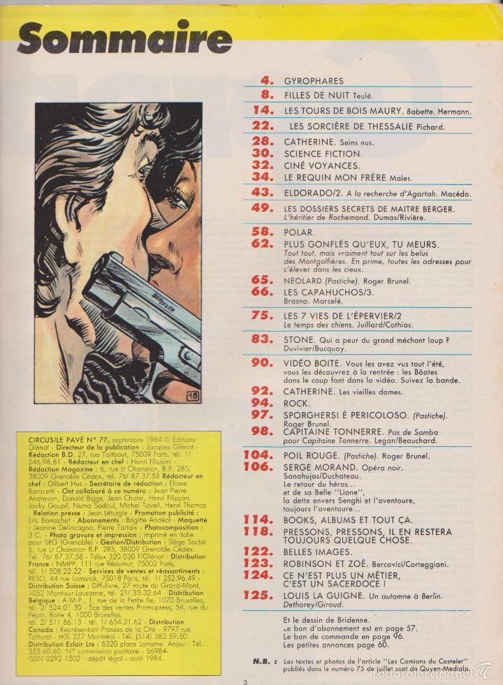 Cómics: CIRCUS / LE PAVÉ - NÚM. 77 - SEPTIEMBRE 1984 - GLÉNAT - EDICIÓN FRANCESA - Foto 2 - 56600836