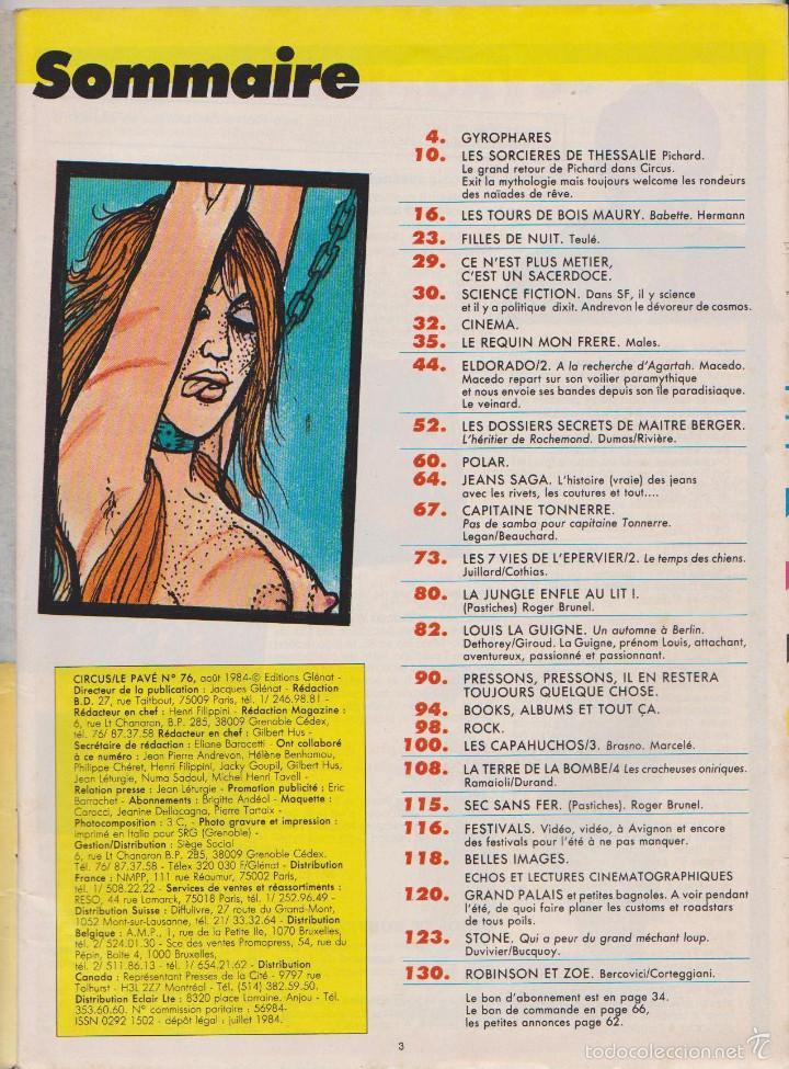 Cómics: CIRCUS / LE PAVÉ - NÚM. 76 - AGOSTO 1984 - GLÉNAT - EDICIÓN FRANCESA - Foto 2 - 56661578