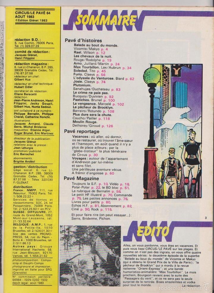 Cómics: CIRCUS / LE PAVÉ - NÚM. 64 - AGOSTO 1983 - GLÉNAT - EDICIÓN FRANCESA - Foto 2 - 56968617