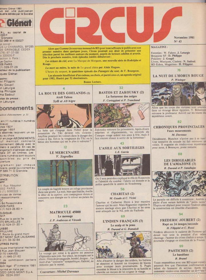 Cómics: CIRCUS - NÚM. 43 - NOVIEMBRE 1981 - GLÉNAT - QUINO - SANAHUJAS - EDICIÓN FRANCESA - Foto 2 - 56968804