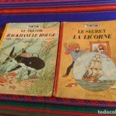 Cómics: TINTIN MEDALLÓN LE SECRET DE LA LICORNE Y LE TRESOR DE RACKHAM LE ROUGE. CASTERMAN 1947. DIFÍCILES.. Lote 236251090