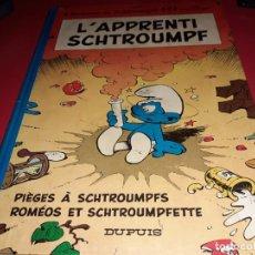 Cómics: L´APPRENTI SCHTROUMPF 3 HISTOIRES DE SCHTROUMPFS PAR PEYO DUPUIS 1977 FRANÇAIS. Lote 165298294
