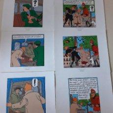 Cómics: TINTIN - SEIS LAMINAS. Lote 206196817