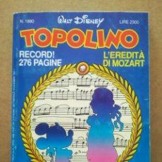 Cómics: TOPOLINO N°1880 (DISNEY COMPANY ITALIA, 1991). EN ITALIANO. VER ÍNDICE EN FOTO ADICIONAL.. Lote 289293818