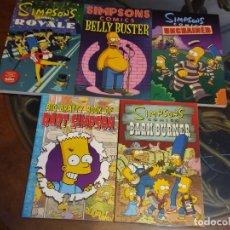 Cómics: SIMPSONS. 5 LIBROS DE COMICS. UNOS 7 COMICS POR LIBRO, EN INGLÉS. PRIMERAS EDICIONES. USA. Lote 174005810