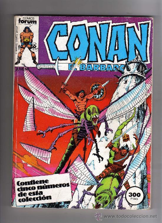 (M-13) CONAN EL BARBARO , COLECCION 5 NUMEROS, NUM. 56-57-58-59-60 , EDT FORUM, SEÑALES DE USO (Tebeos y Comics - Forum - Conan)